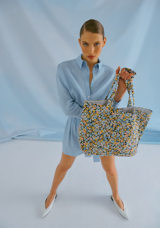 Flower Print Quilted Blue Tote Bag
