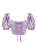 Gingham cropped top with adjustable gathered detail and puff-sleeves