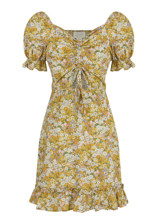 Cropped, off the shoulder mini floral dress with crimped detail and adjustable gathered front